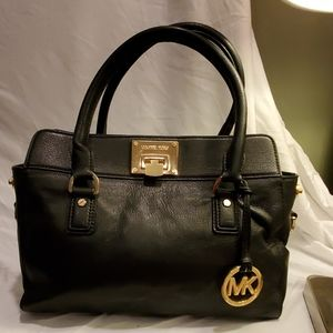 Michael Kors Black Leather Top Handle Handbag